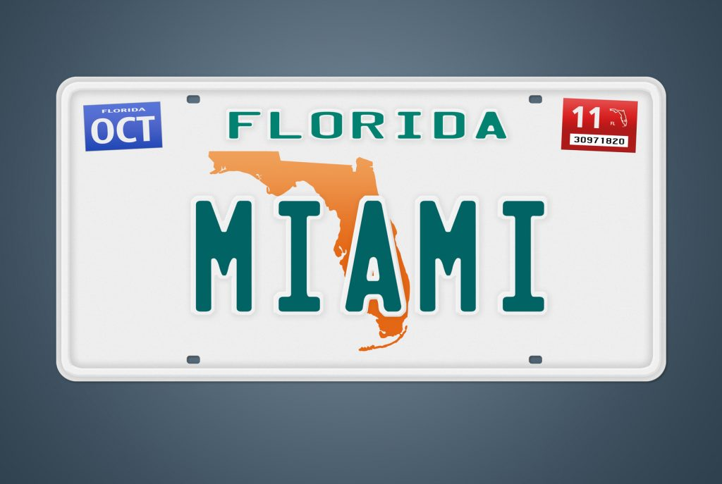 Nummernschild Florida Miami